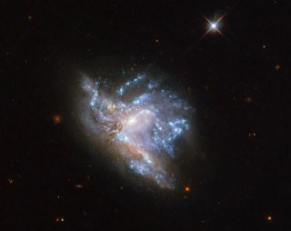Hubble Space Telescope image of NGC 6052, a pair of colliding galaxies that lies in the constellation of Hercules, about 230 million light-years away from Earth.