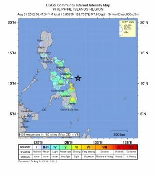 Philippines earthquake shake map.