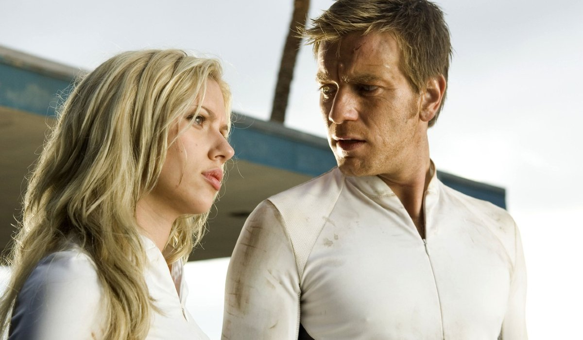 The Island Scarlett Johansson and Ewan McGregor talk while wearing futuristic uniforms