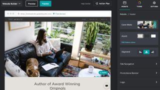 GoDaddy's site editor in use