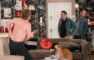 Steve McDonald, played by Simon Gregson, caught out in Coronation Street