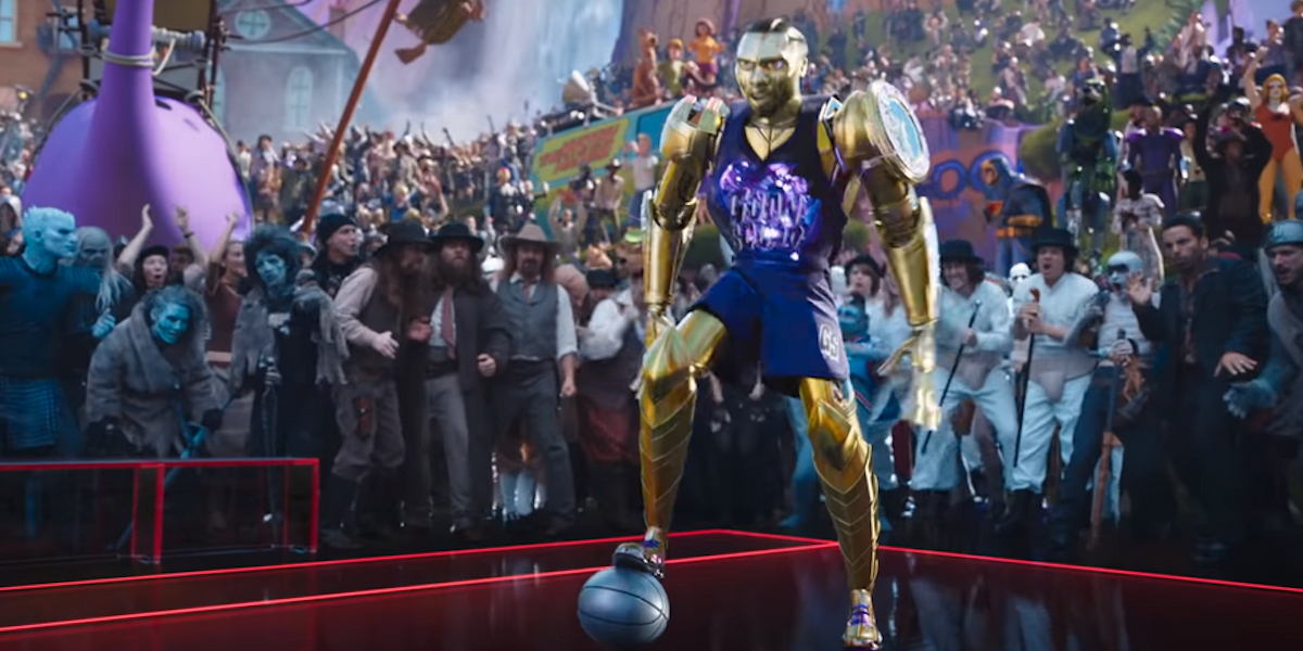 Damian Lillard as Chronos with the Droogs in the audience, Space Jam: A New Legacy