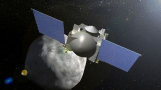 An artist's depiction of the OSIRIS-REx spacecraft at work at the asteroid Bennu.