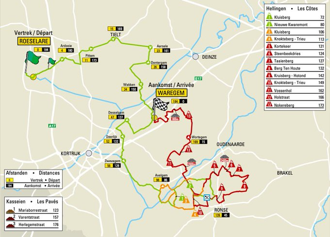 The map of the 2021 Dwars door Vlaanderen