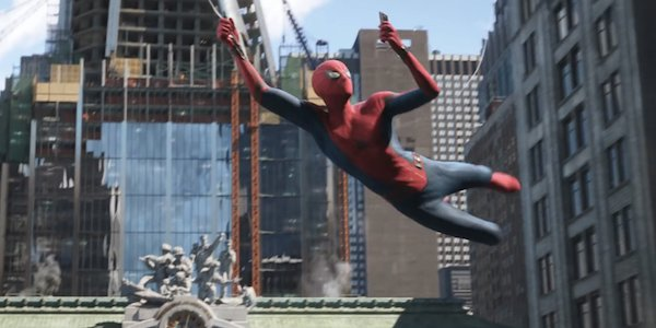 Tom Holland as Spider-Man swinging through New York, Far From Home