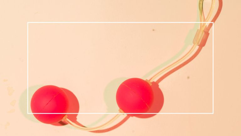 Orange kegel balls on a peach background with think white frame overlaid