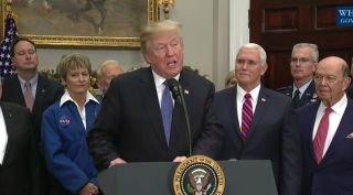 President Donald Trump discusses space policy at the White House Dec. 11, 2017.