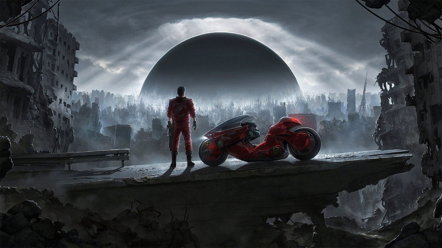 Moody art of Akira and motorcycle at night, overlooking a city skyline