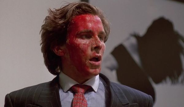 Christian Bale covered in blood in American Psycho