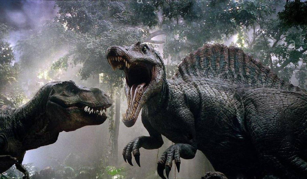 A spinosaurus enters battle with a tyrannosaurus rex in Jurassic Park III.