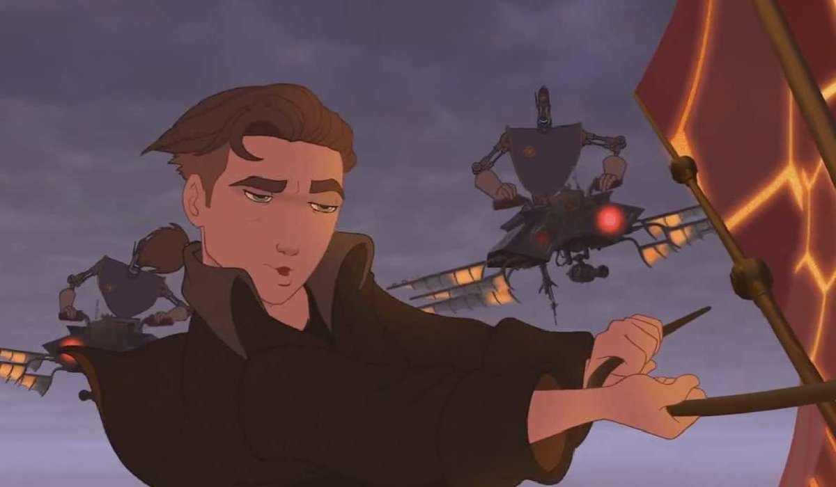 Treasure Planet Jim solar surfs away from the police