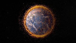 Space junk orbiting Earth.