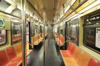 Empty subway cart in NYC.