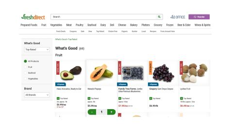FreshDirect review: Image shows top selling FreshDirect products.