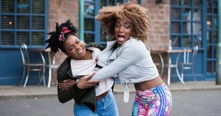 Lisa Loveday and Sonia Albright fight in Hollyoaks