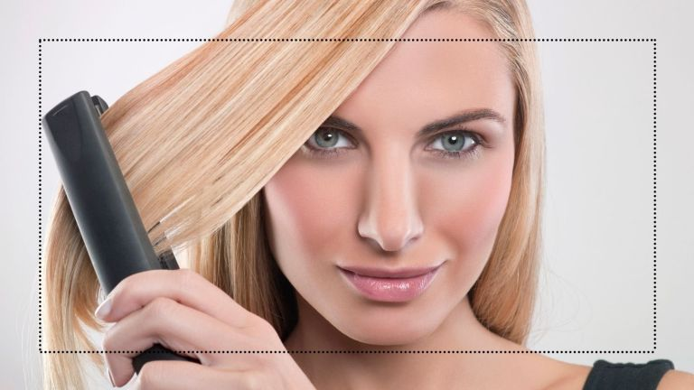ceramic hair straighteners main image of a woman using a flat iron