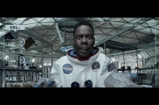 "Comedian Chris Rock stands in for Matt Damon in a parody of ""The Martian"" shown during the 88th Academy Awards on Sunday, Feb. 28, 2016."