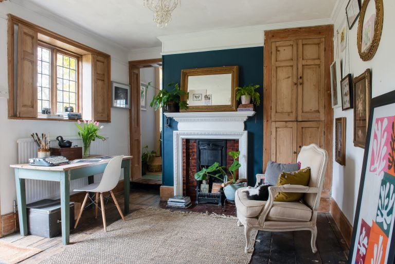 home office with blue walls in a cosy Georgian entrance hall