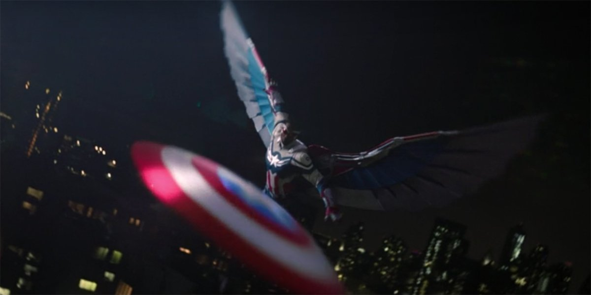 Captain America flies and throws his shield The Falcon And The Winter Soldier