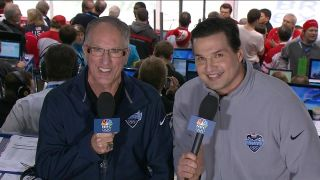 'Doc' Emrick doing play-by-play with analyst Eddie Olczyk