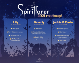 An image depicting content updates for the game Spiritfarer in 2021.