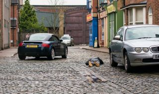 Coronation Street spoilers Nick Tilsley lies on the cobbles.