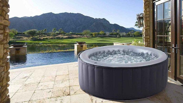 MSpa Silver Cloud Hot Tub in garden