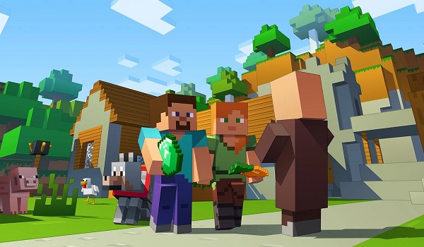 Minecraft Steve meeting in the woods
