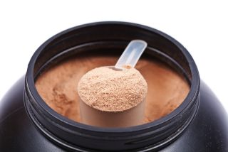 A scoop of supplement powder
