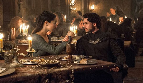 Talisa Stark and Robb Stark at The Red Wedding in The Rains Of Castamere on HBO's Game Of Thrones