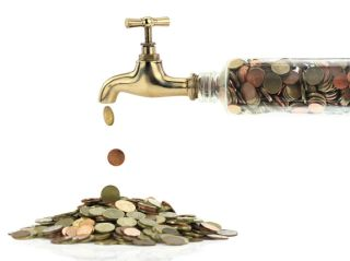 money flowing out of a tap