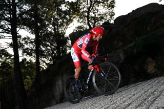 MIRADOR DE ZARO DUMBRA SPAIN NOVEMBER 03 Richard Carapaz of Ecuador and Team INEOS Grenadiers Red Leader Jersey during the 75th Tour of Spain 2020 Stage 13 a 337km Individual Time Trial stage from Muros to Mirador de zaro Dumbra 278m ITT lavuelta LaVuelta20 La Vuelta on November 03 2020 in Mirador de zaro Dumbra Spain Photo by David RamosGetty Images