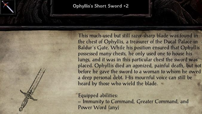 Ophyllis's short sword, a magic weapon from Baldur's Gate