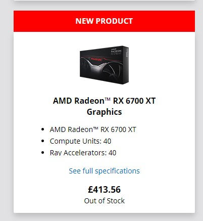 AMD RX 6700 XT official store listing