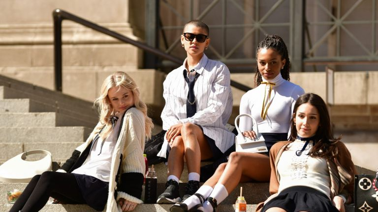""": Emily Alyn Lind, Jordan Alexander, Zion Moreno and Savannah Smith seen on the set of """"Gossip Girl"""" at the Metropolitan Museum of Art on March 9, 2021 in New York City"""