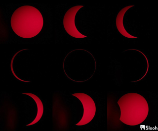 This image shows the stages of the 2017 annular eclipse surrounding peak annularity, courtesy of the Slooh Community Observatory.