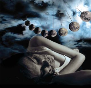 A woman sleeping under a full moon, showing the different phases of the moon