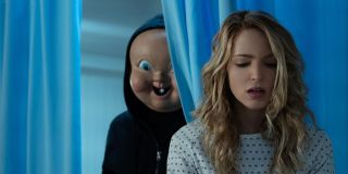 Jessica Rothe being stalked by killer in Happy Death Day