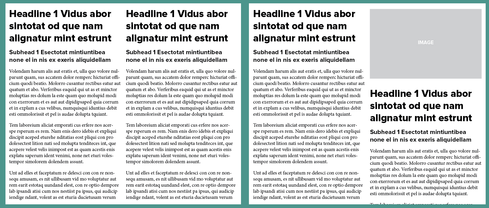 Example editorial layouts