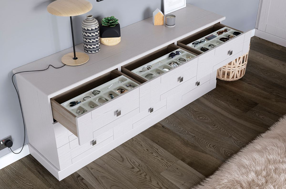 3 Grey Seagrass Drawers Chest BASIC HOUSE Drawers Units Storage Chest Coffee Table Beside Shelves