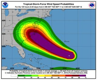 The probability (with magenta being the highest probability) that Hurricane Florence will reach tropical-storm-force winds.