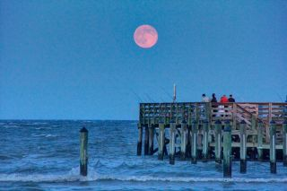 Supermoon of July 2014 Over Chesapeake Bay