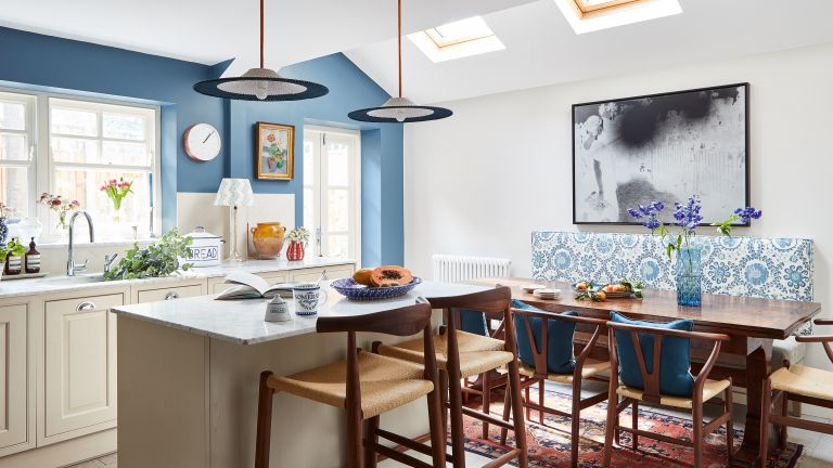 kitchen extension with blue walls in Victorian London home