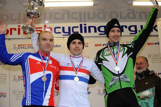 Senior men podium (l-r): Roger Hammond (third), Jody Crawforth (winner), Paul Oldham (second)