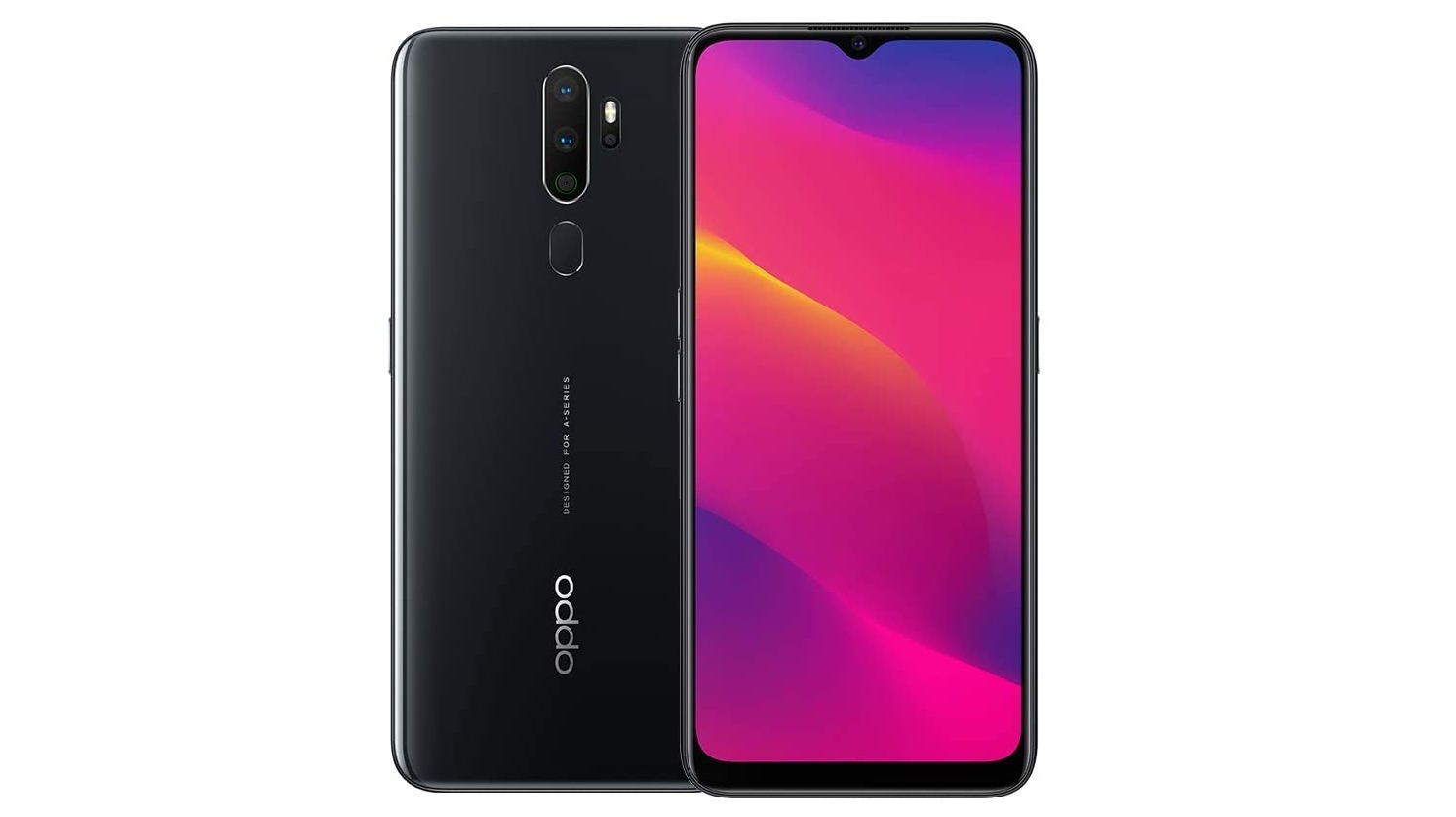 An Oppo A5 2020 against a white background