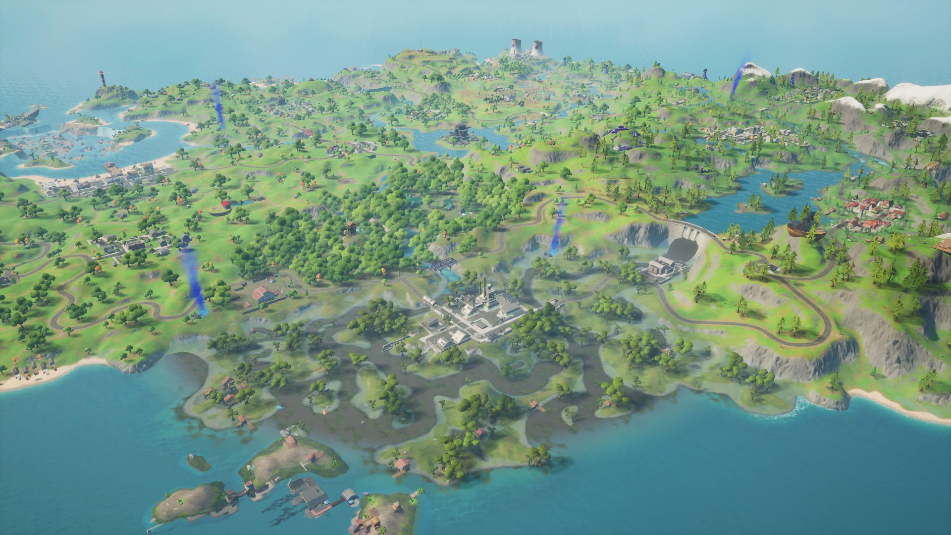 Fortnite Chapter 2 Map Every New Place Of Interest On The Island Gamesradar In a first for fortnite, you have to visit them all to reveal their names on the map. fortnite chapter 2 map every new place