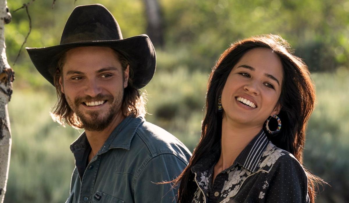 Yellowstone Kayce Dutton Luke Grimes Monica Long Dutton Kelsey Asbille Paramount Network
