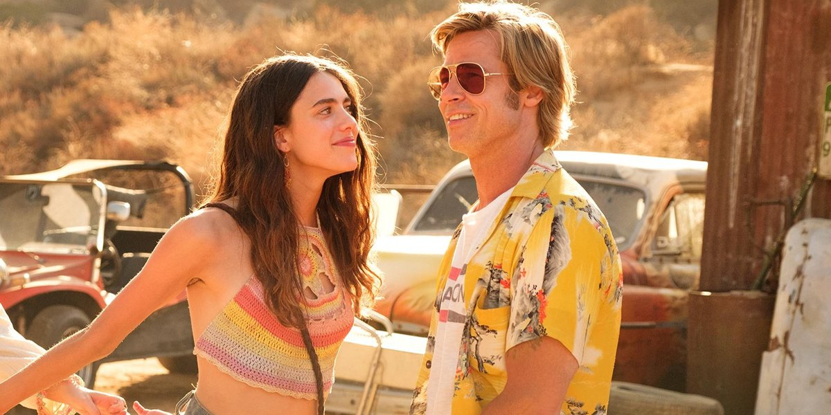 Once Upon a Time in Hollywood Margaret Qualley and Brad Pitt