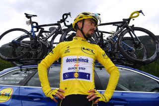 Julian Alaphilippe in the yellow jersey at the 2019 Tour de France