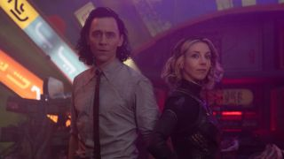 Tom Hiddleston and Sophia Di Martino as Loki and Sylvie